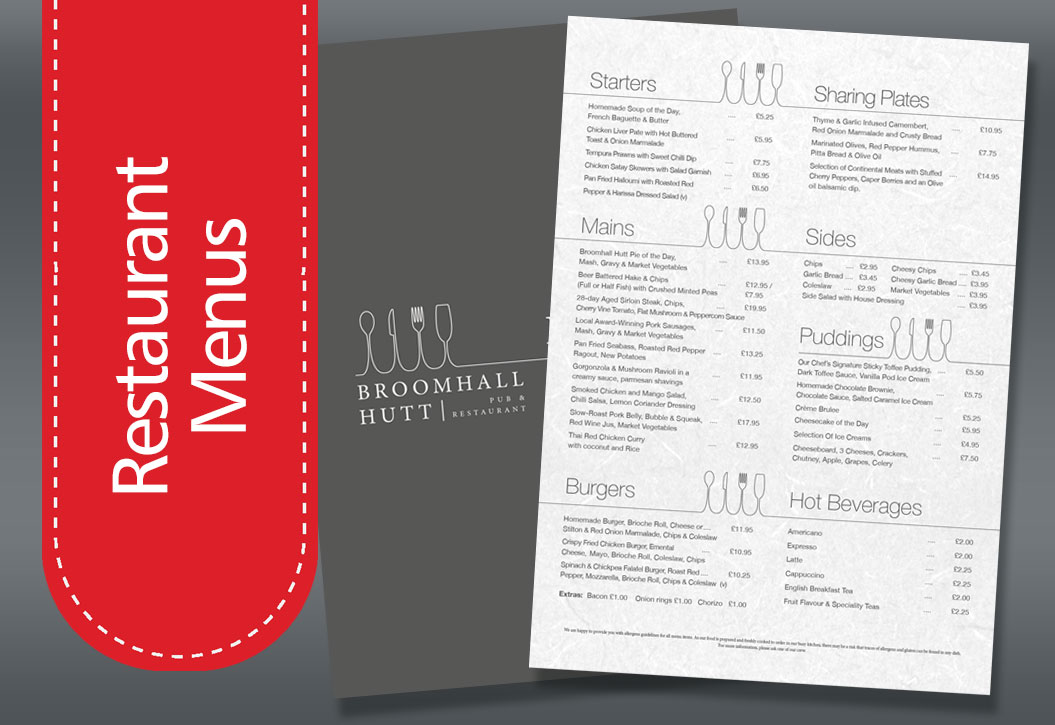 Restaurant, hotel and bar Menu printing