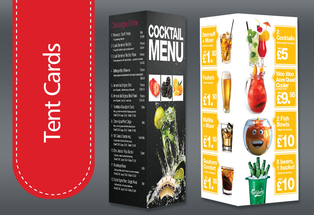 Restaurant, hotel and Bar Tent Card printing