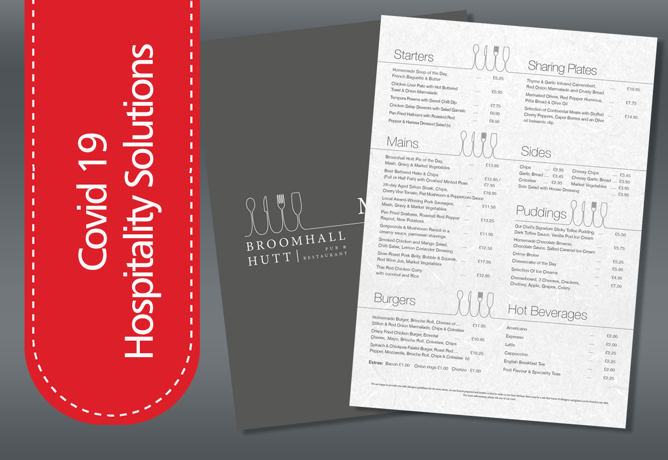covid 19 menu printing Teddington
