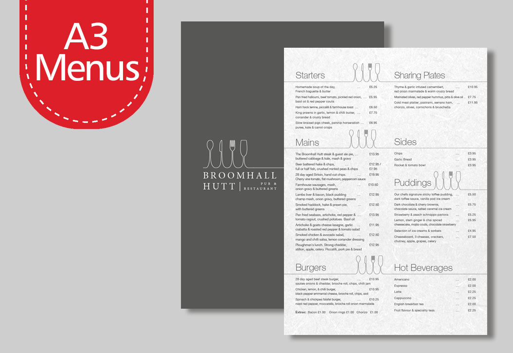 Full colour A3 Menu Printing