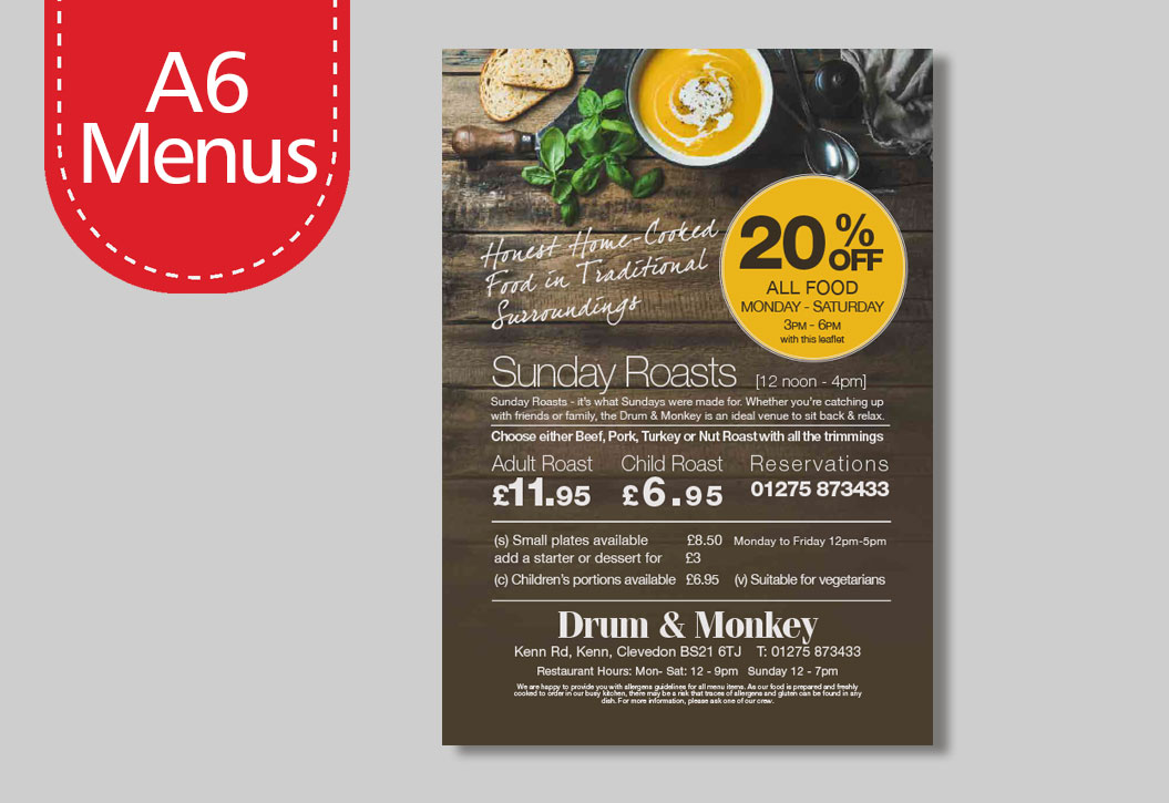 Full colour A6 Menu Printing
