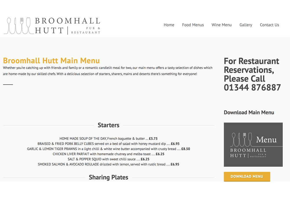 Pub Restuarant Website Design