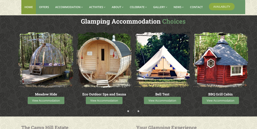 Glamping and Camping Website Designer