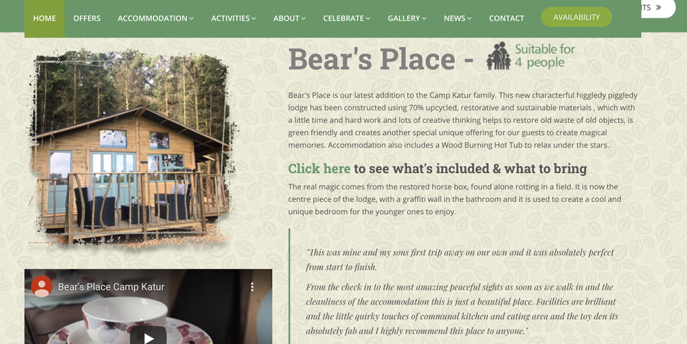 Glamping and Camping Website Design